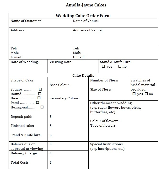 Bakery Order Templates  Free Sample Example Format Download